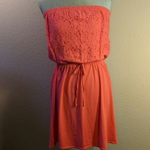 Coral Pink Strapless Sundress